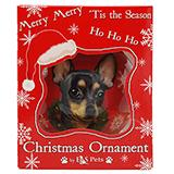 E&S Imports Shatterproof Animal Ornament Black/Tan Chi