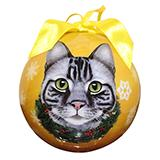 E&S Imports Shatterproof Animal Ornaments Silver Tabby