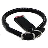 Circle T Leather Dog Collar Rolled Black 24 inch
