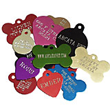 Aluminum Engraved Pet ID Tags Round/Heart/Bone/Military