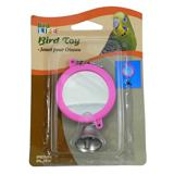 Mirror with Bell Bird Toy Small Round 2-inch