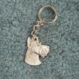 Pewter Key Chain I Love My Miniature Schnauzer