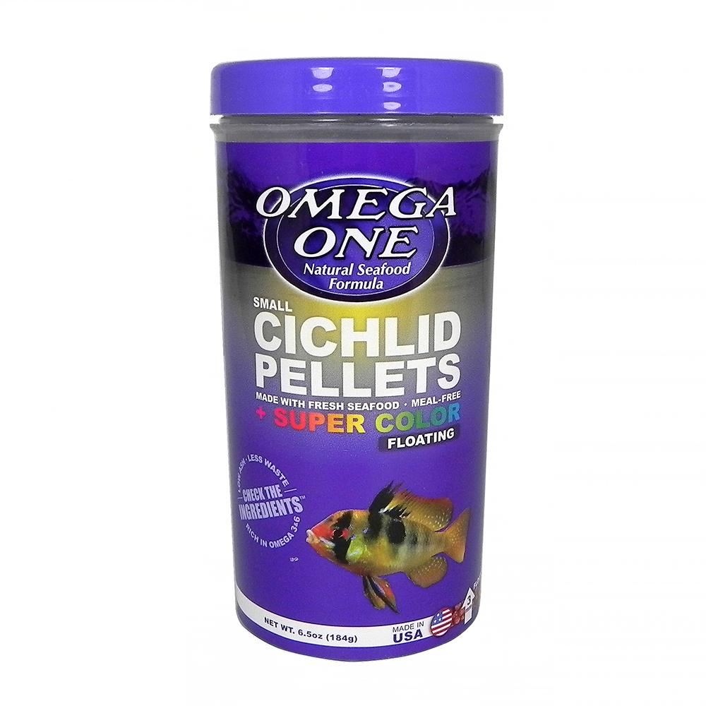 Omega One Small Floating Cichlid Pellets Fish Food 6.5-oz