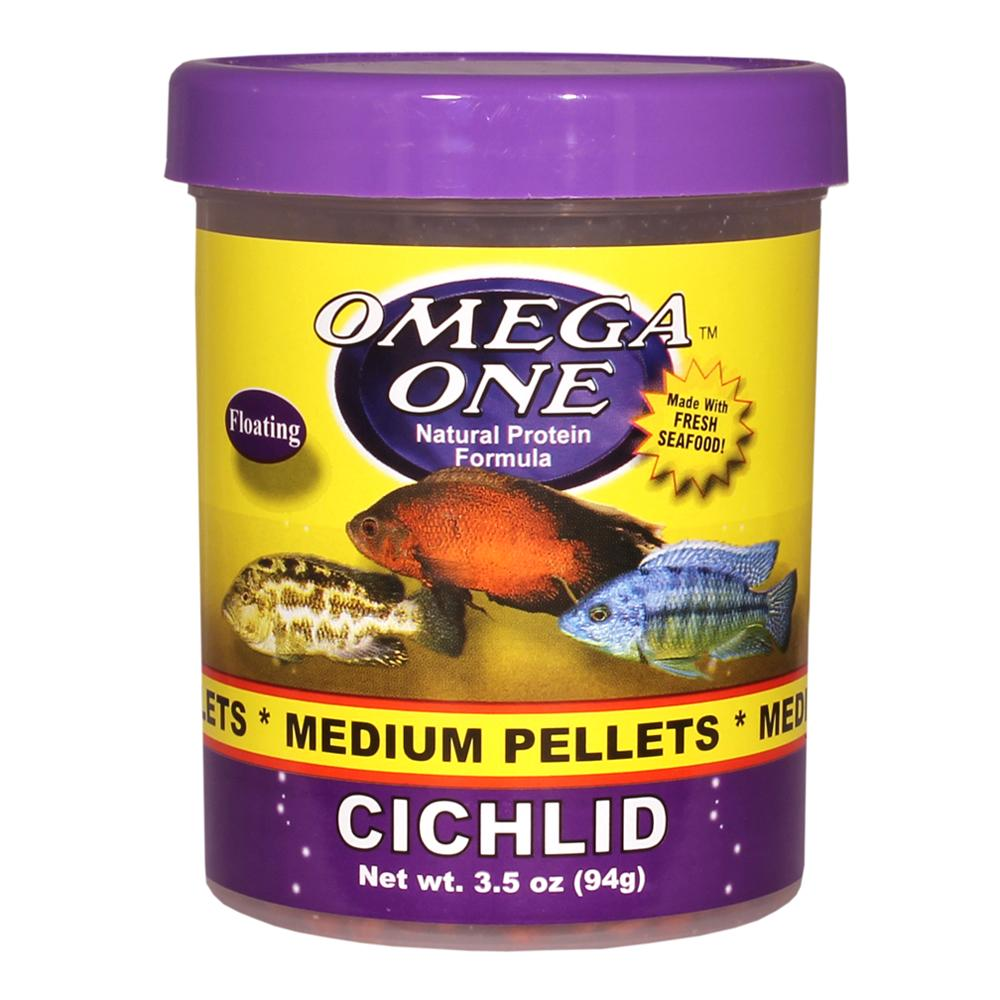 Omega one medium floating cichlid pellets fish food 3 5 oz for Fish food pellets