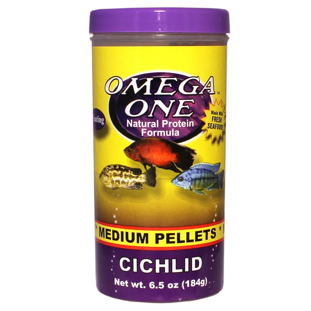 Omega One Medium Floating Cichlid Pellets Fish Food 6.5-oz