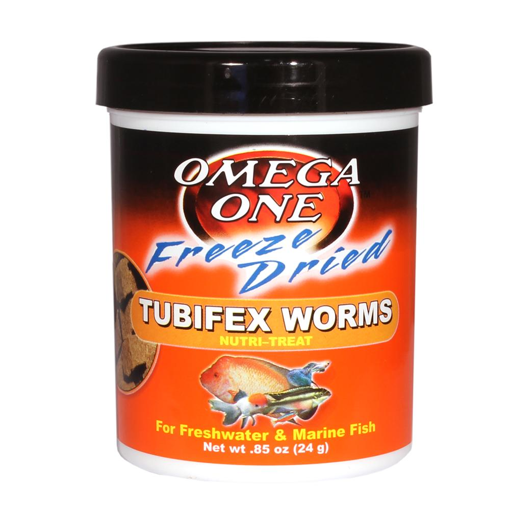 Omega One Freeze-Dried Tubifex Worms Fish Food .85 ounce