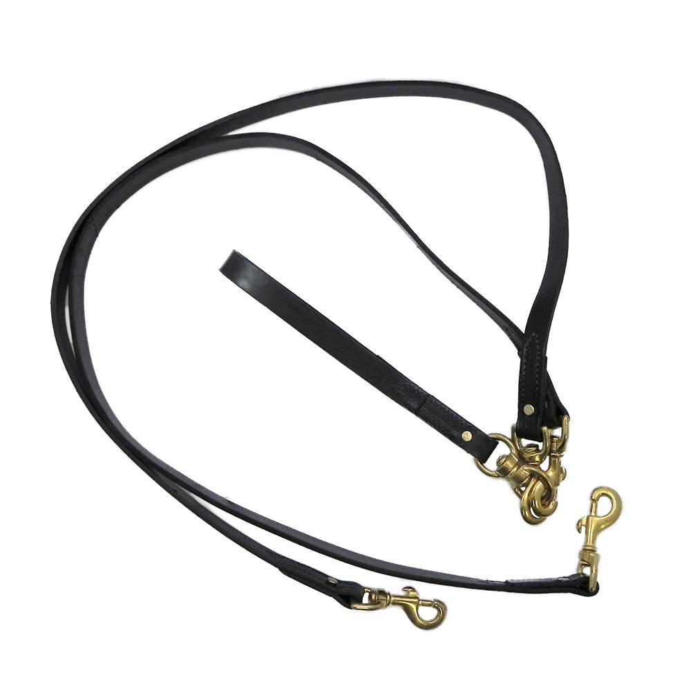 Pet Walker-Plus Black Leather 2-Dog Leash Large