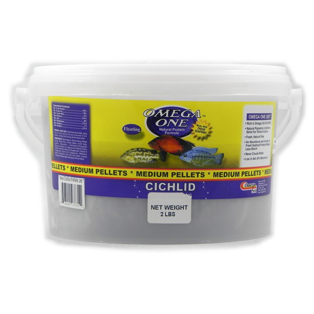 Omega One Medium Floating Cichlid Pellets Fish Food 2-Lbs.