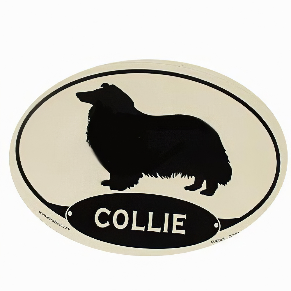 Euro Style Oval Dog Decal Collie