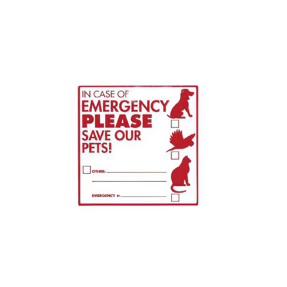 Decal In Case of Emergency PLEASE Save Our Pets!