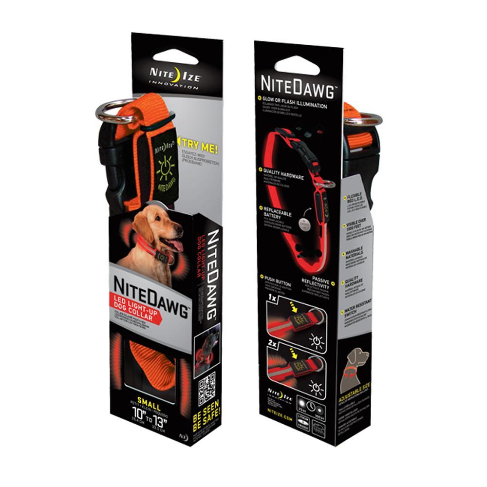Nite Ize Night-Dawg Lighted LED Dog Collar Orange Small