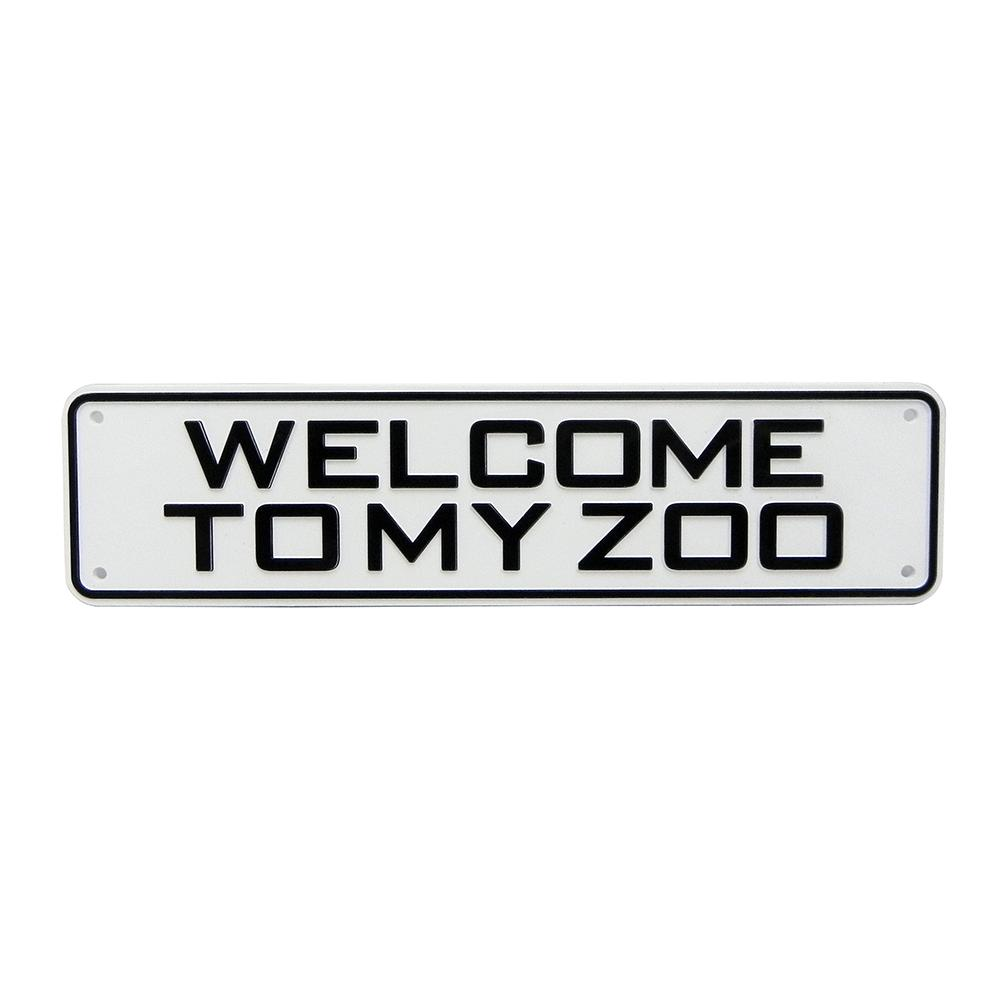 Sign Welcome To My Zoo 12 x 3 inch Plastic