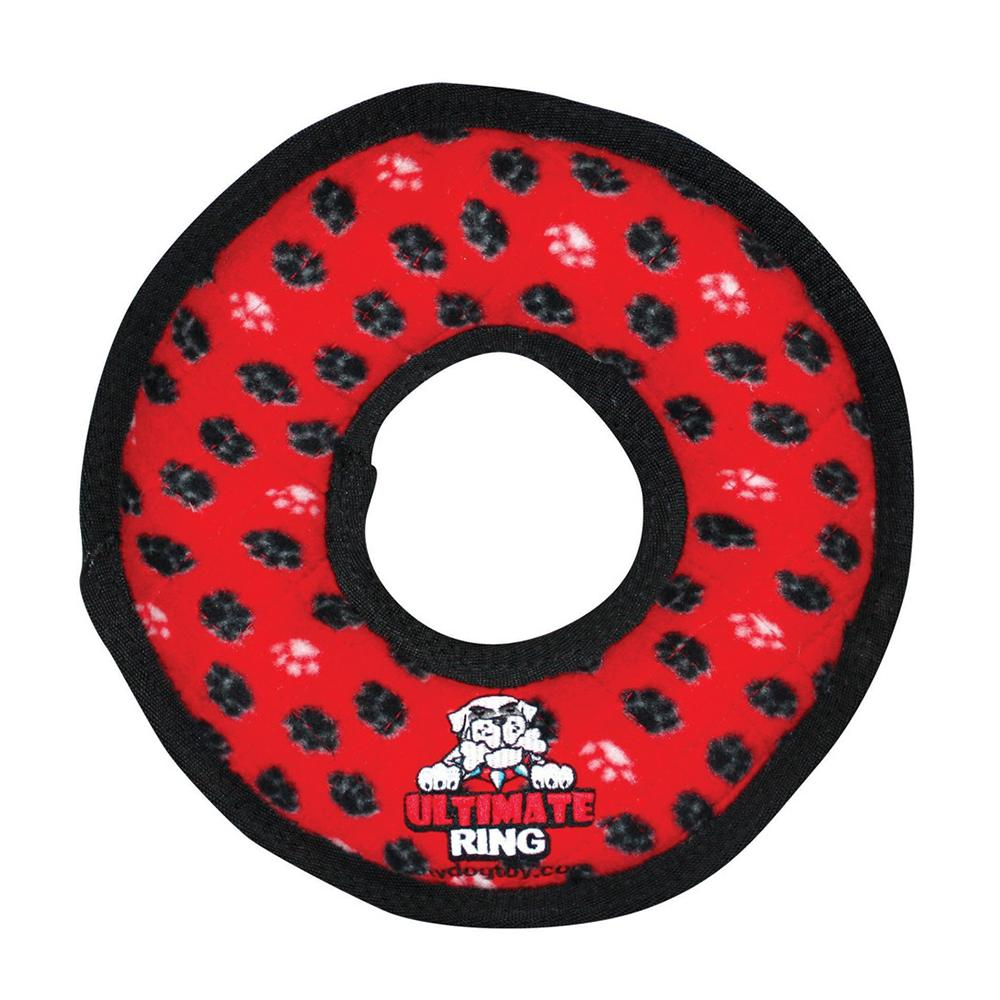 Tuffy's Ultimate Rumble Ring Red Paws Dog Toy