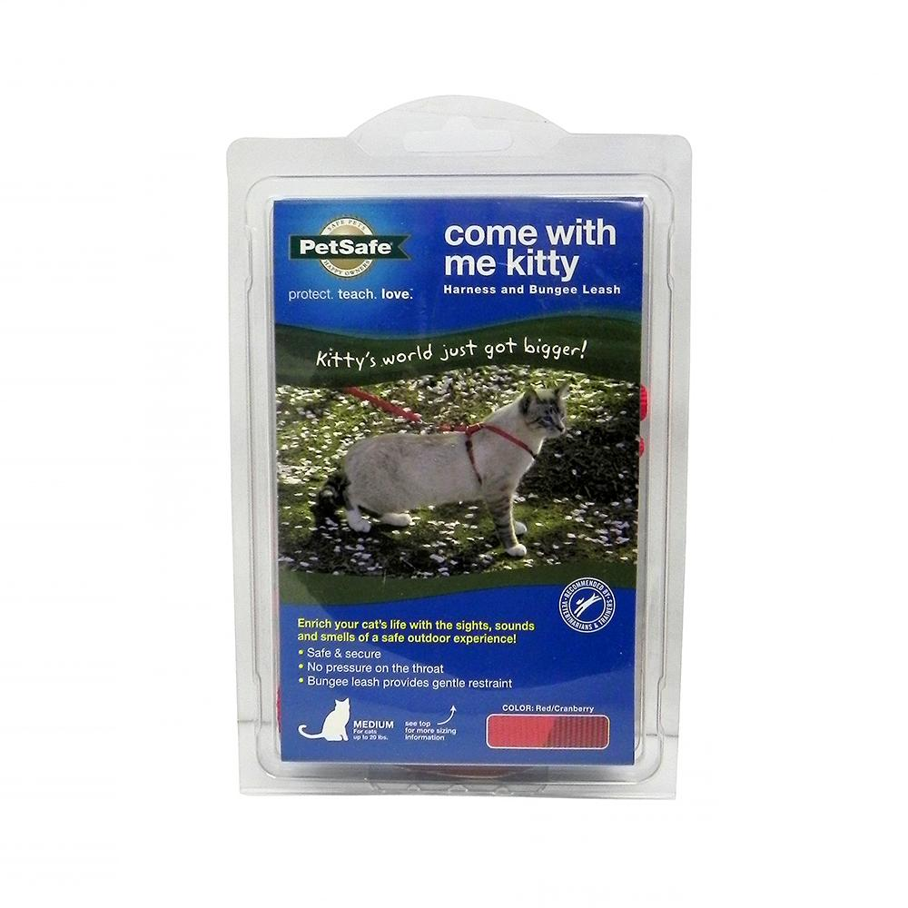 Come With Me Kitty Harness & Bungee Leash Red Md