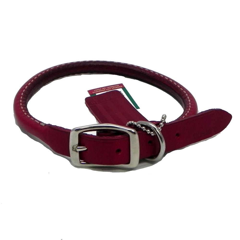 Circle T Leather Dog Collar Rolled Red 12 inch