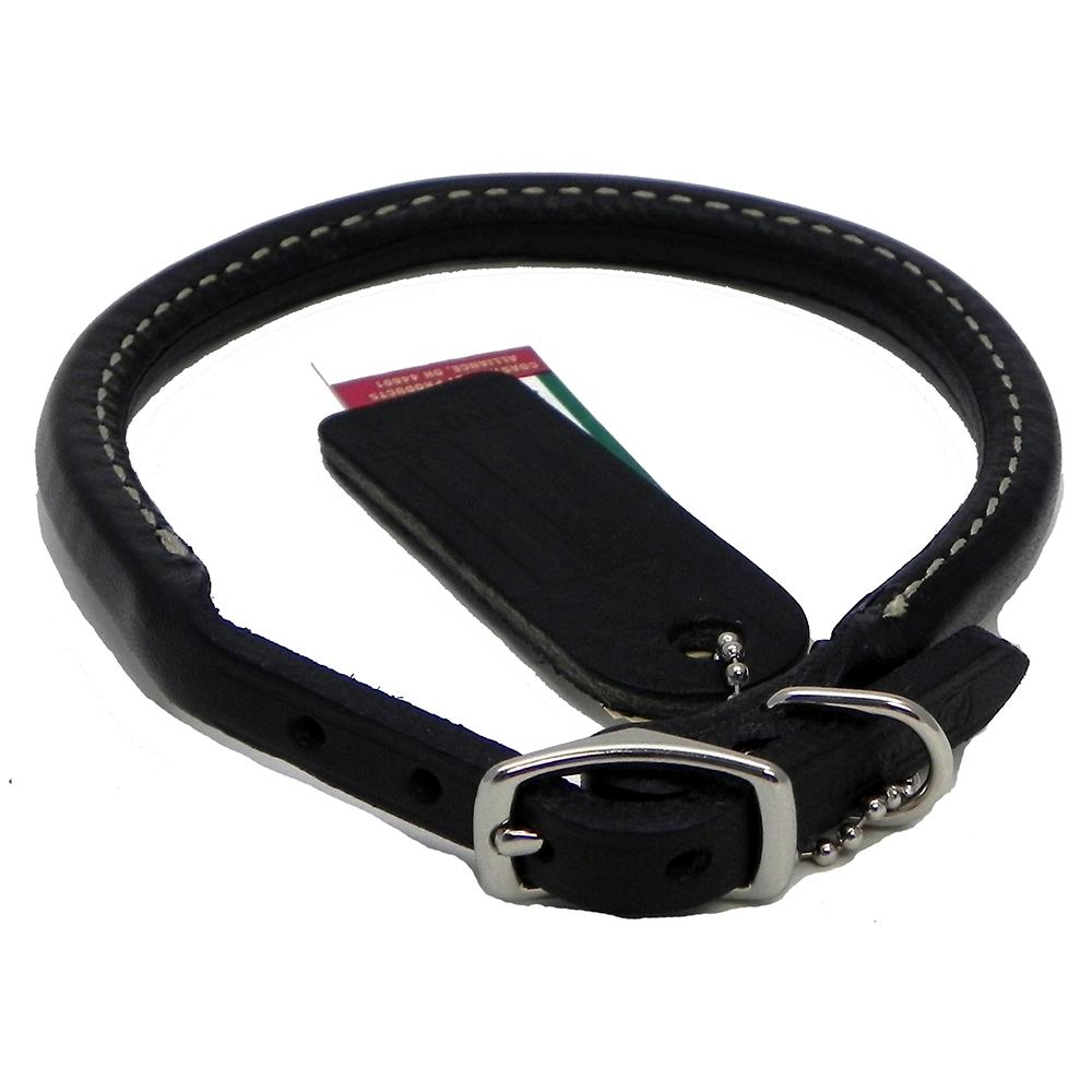 Circle T Leather Dog Collar Rolled Black 20 inch
