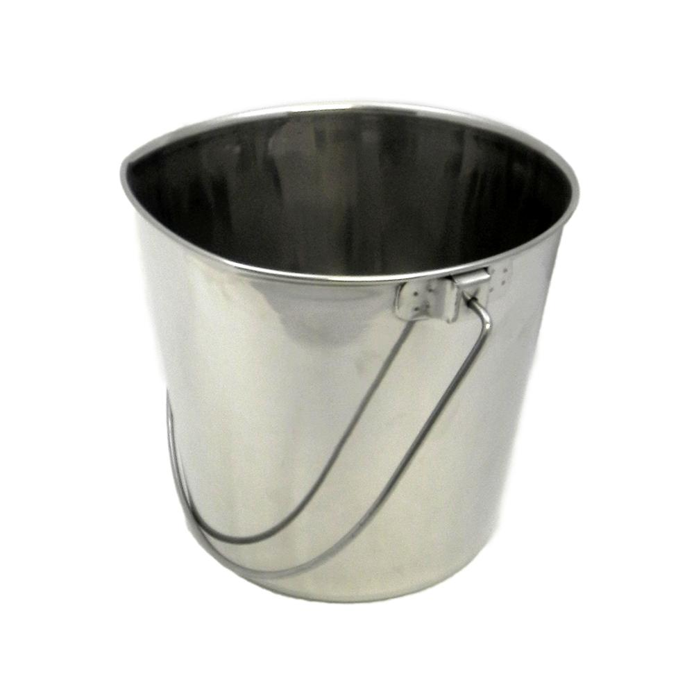 Stainless Flat Side Animal Feeding Pail 6 qt