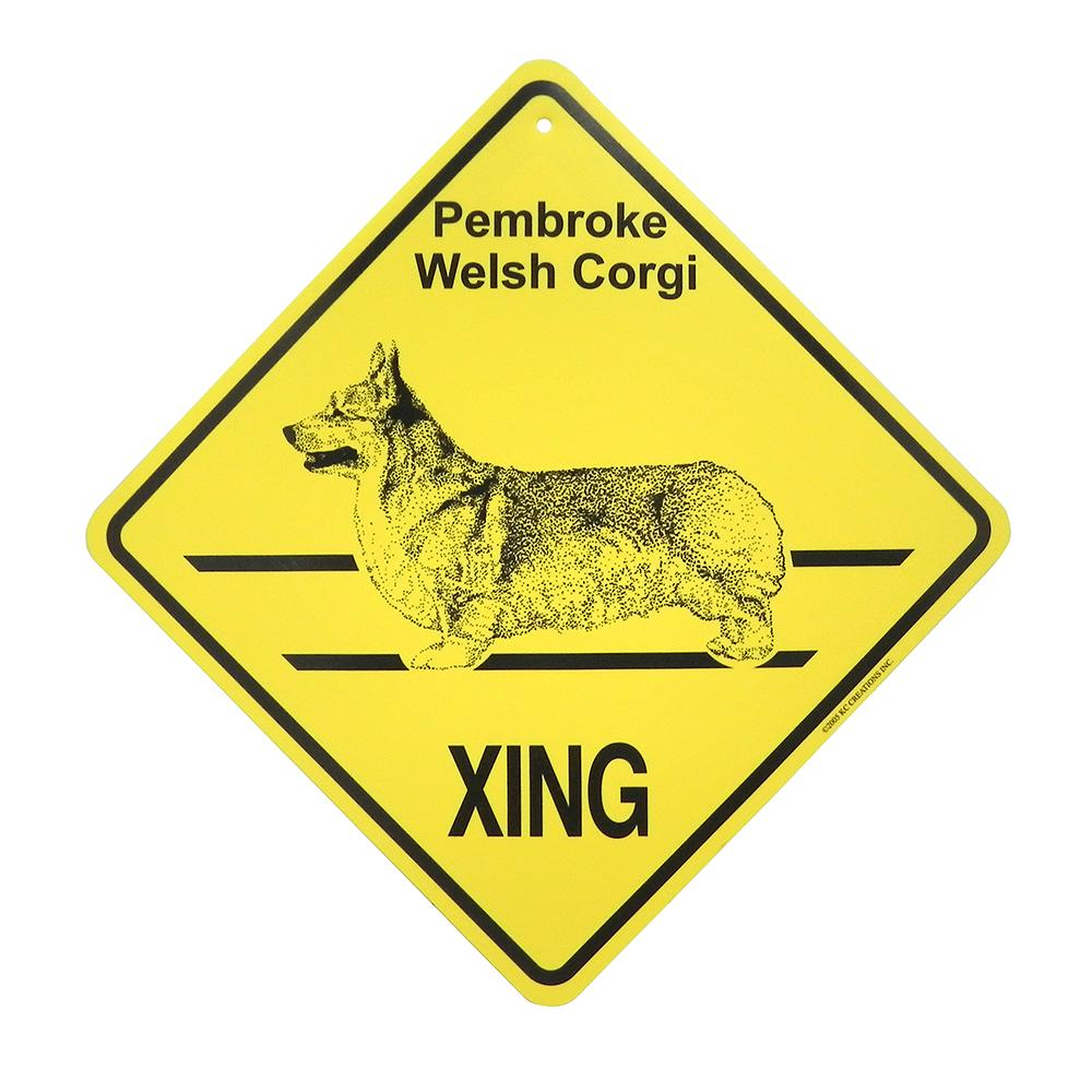 Xing Sign Pembroke Corgi Plastic 10.5 x 10.5 inches