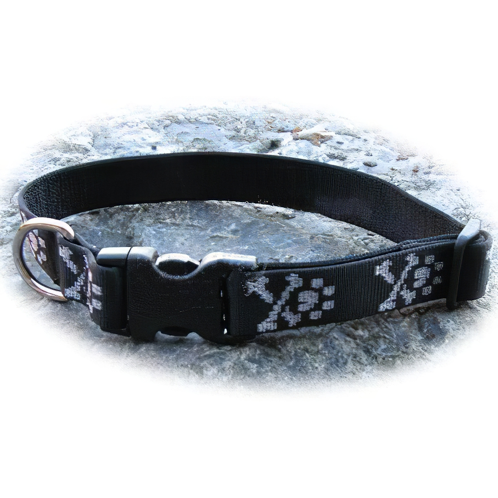 Dog Collar Adjustable Nylon Bling Bones 25-31 1 inch wide