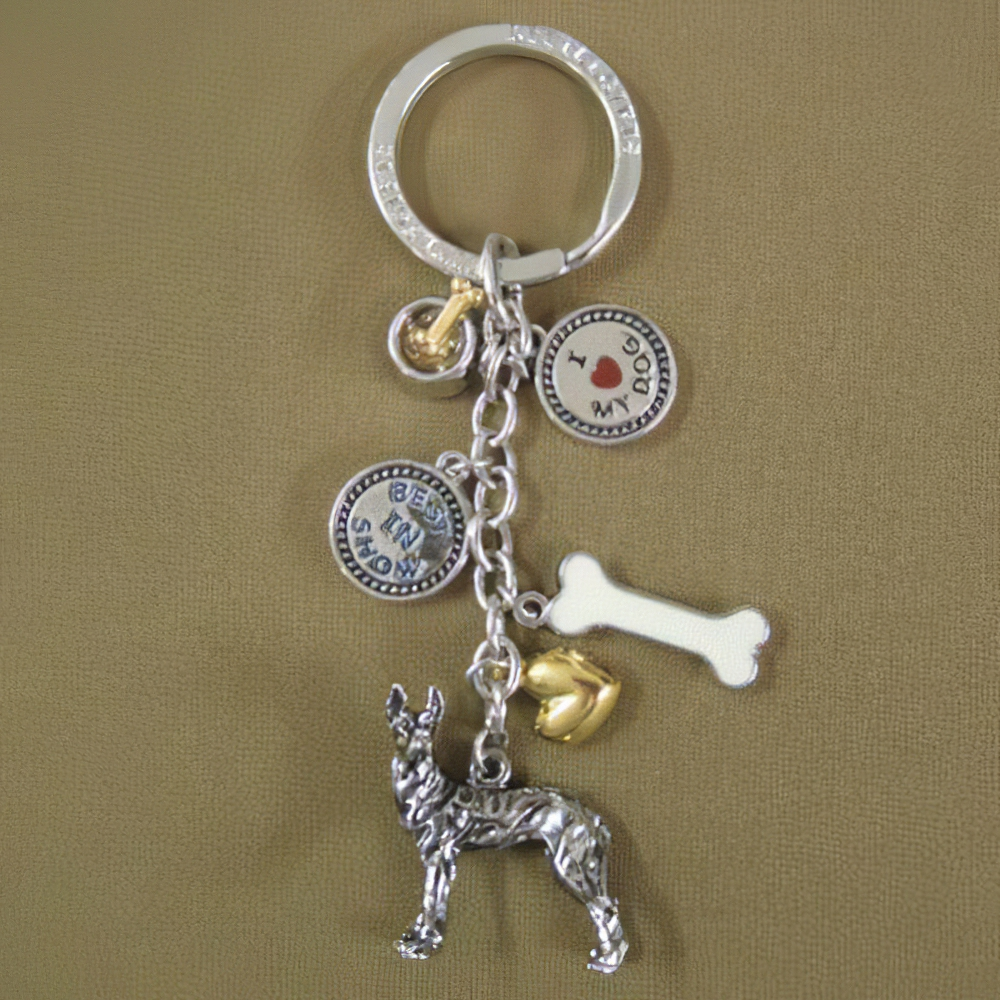 Key Chain Great Dane with 5 Charms