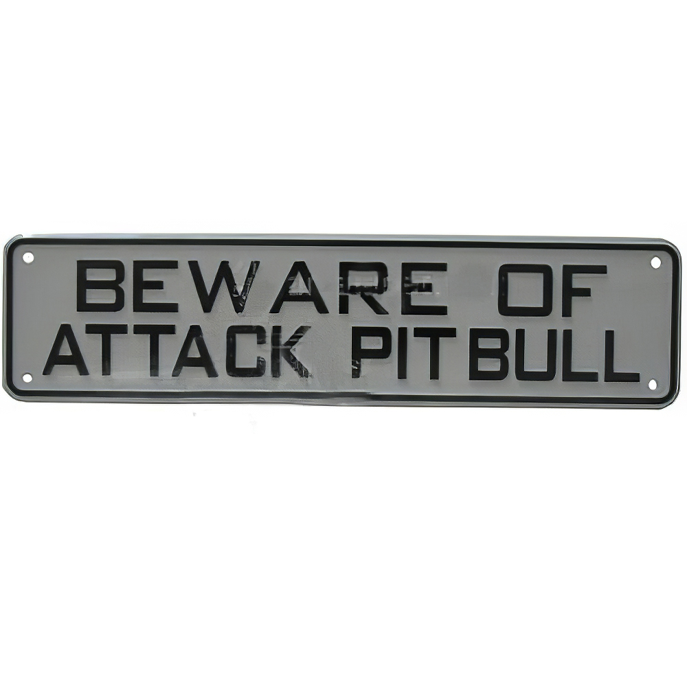 Sign Beware of Attack Pit Bull 12 x 3 inch Plastic