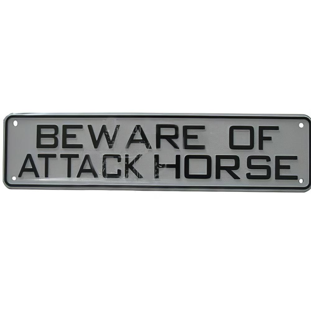 Sign Beware of Attack Horse 12 x 3 inch Plastic