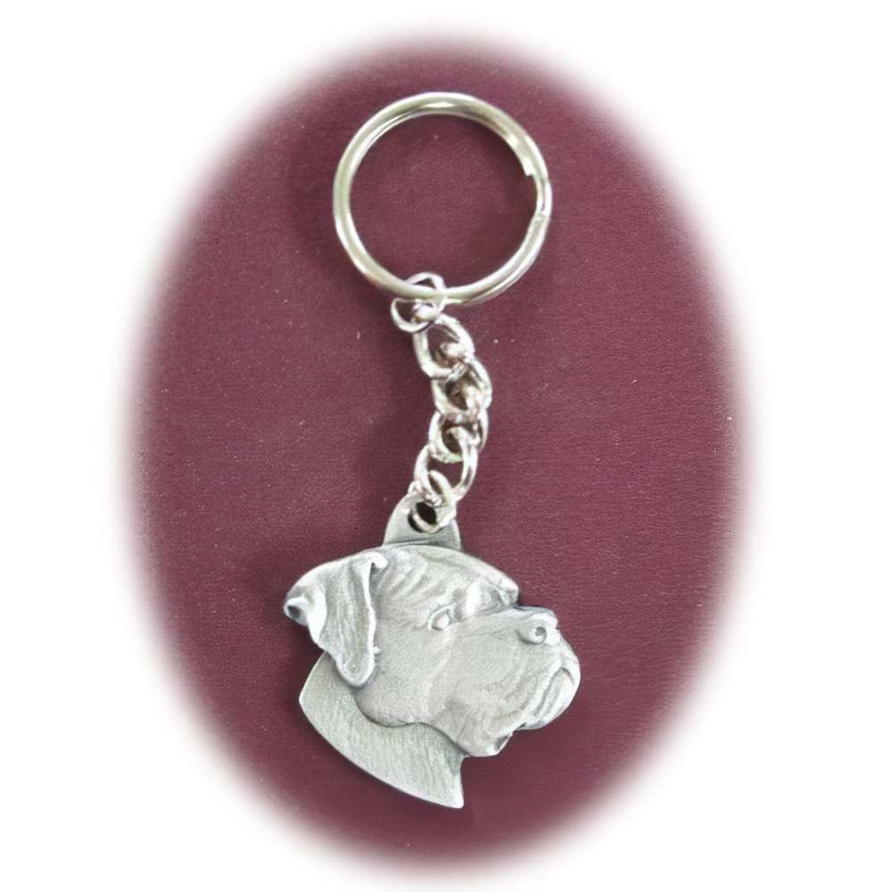 Pewter Key Chain Boxer with Natural Ears