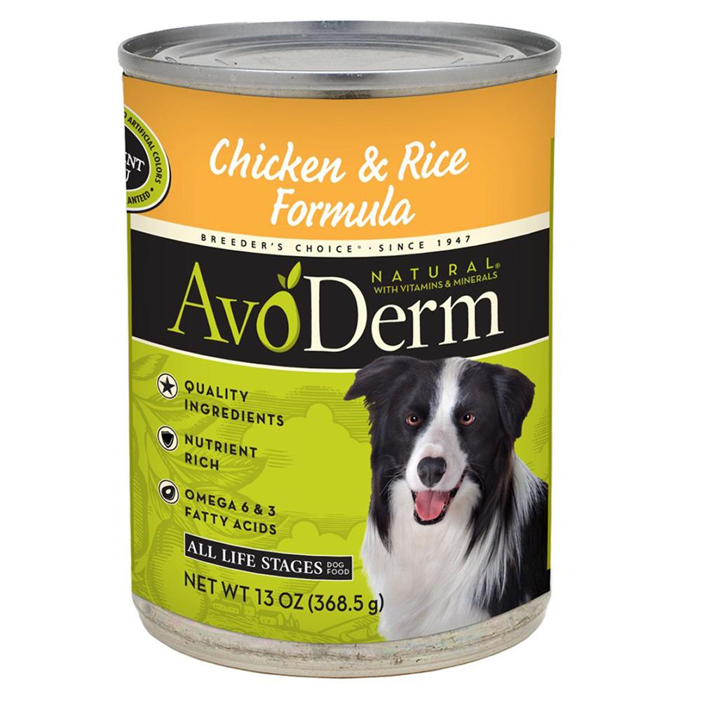 AvoDerm Chicken & Rice Dog Food 13oz each