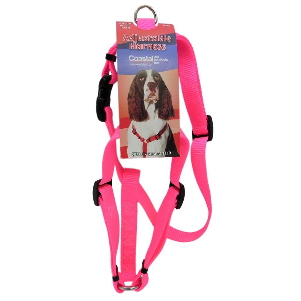 Adjustable Medium Dog Harness 3/4-inch Neon Pink Nylon