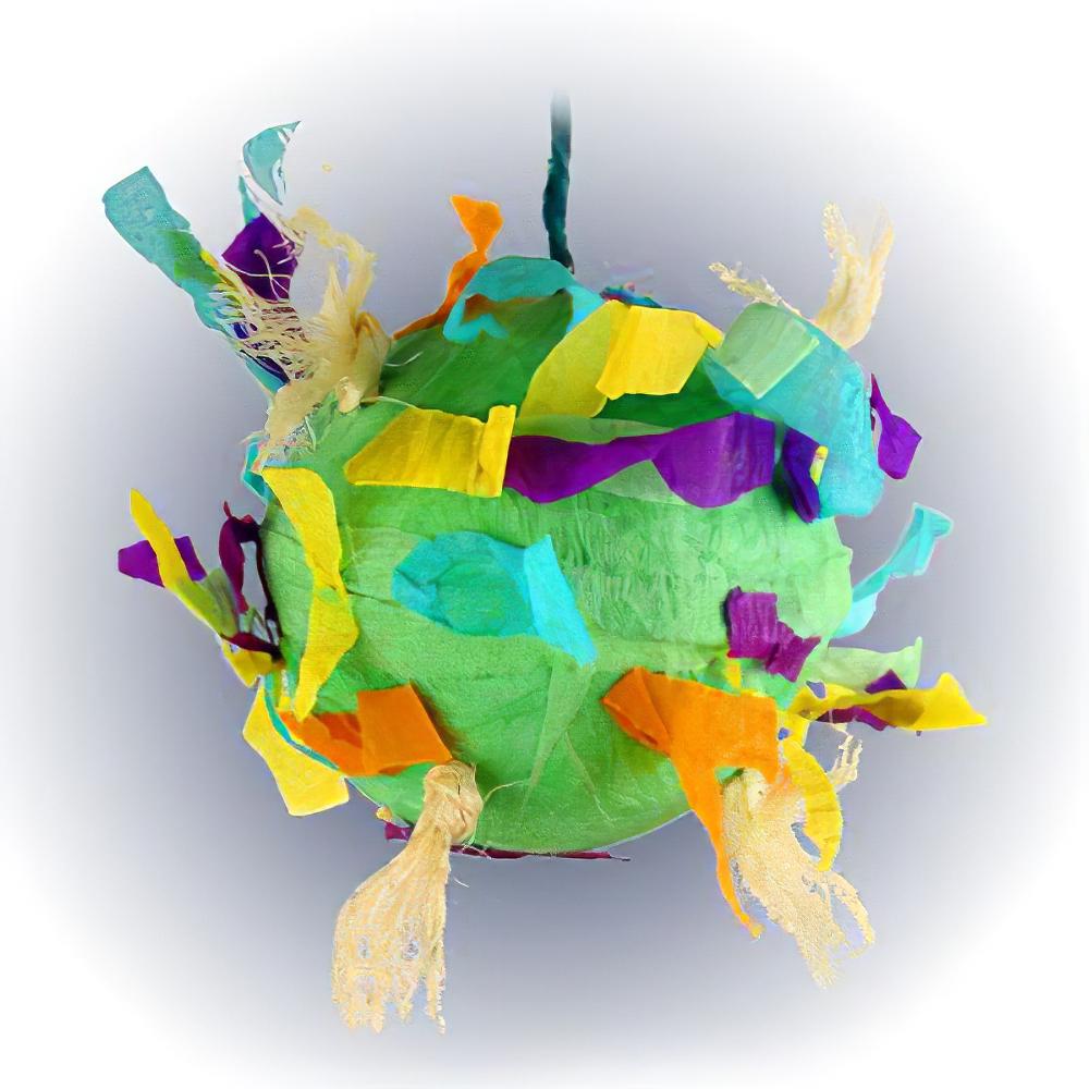 Paper Mache Party Ball 4 Inch Bird Toy