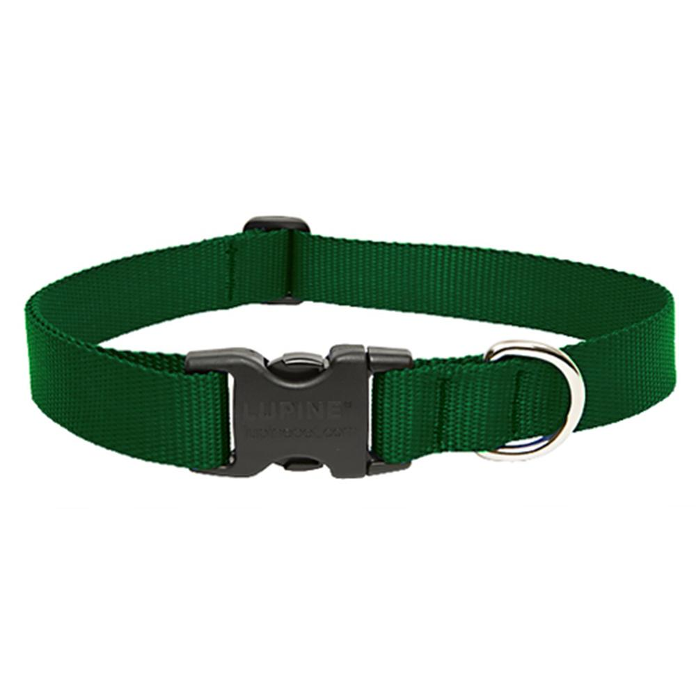 Lupine Nylon Dog Collar Adjustable Green 9-14 inch