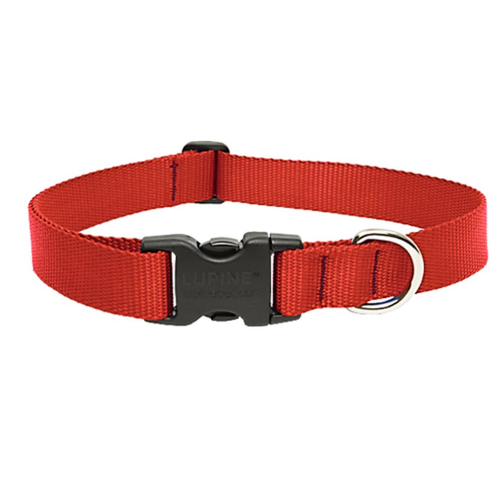 Lupine Nylon Dog Collar Adjustable Red 12-20 inch