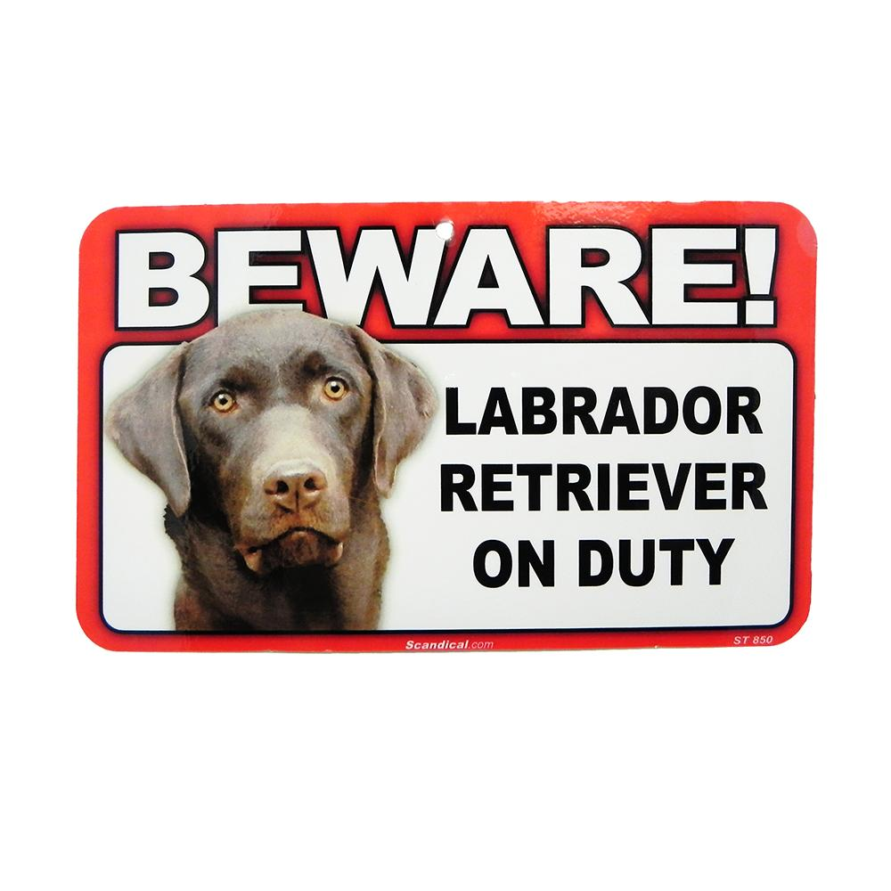 Sign Guard Laborador Chocolate On Duty 8x4.75 inch Laminated