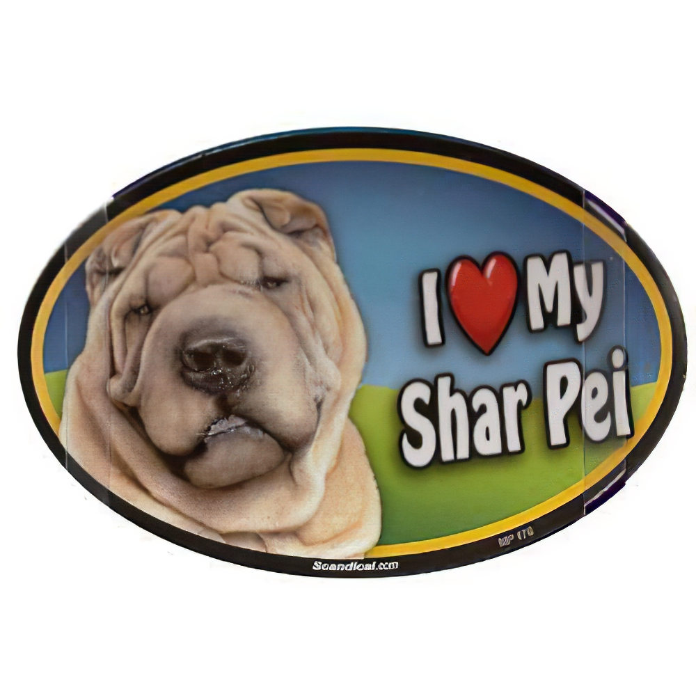 Dog Breed Image Magnet Oval Shar Pei