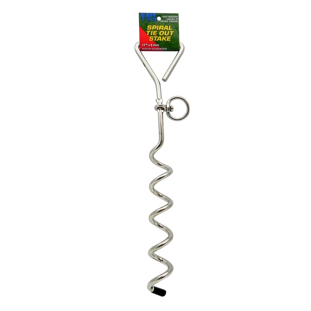 Spiral Dog Tie-Out Stake for dogs up to 50-Lbs.