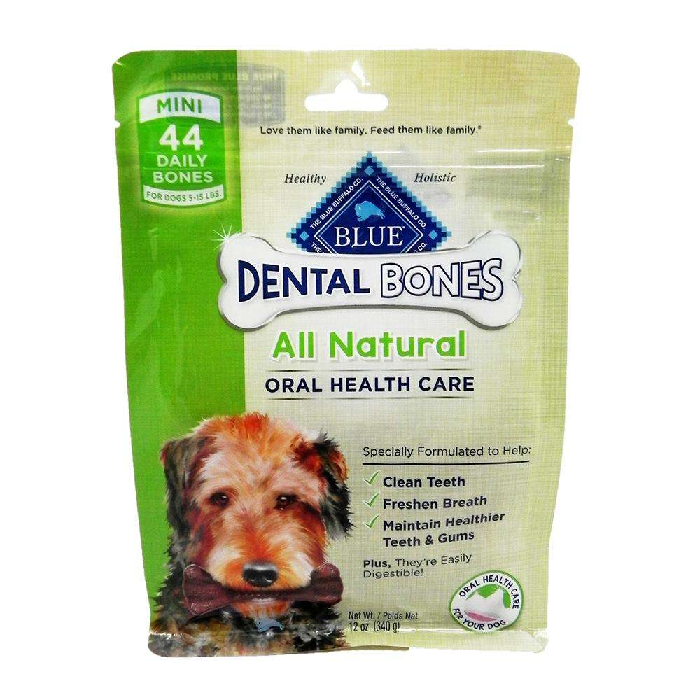 Blue Bones Mini Natural Dental Treat for Dogs 12-oz