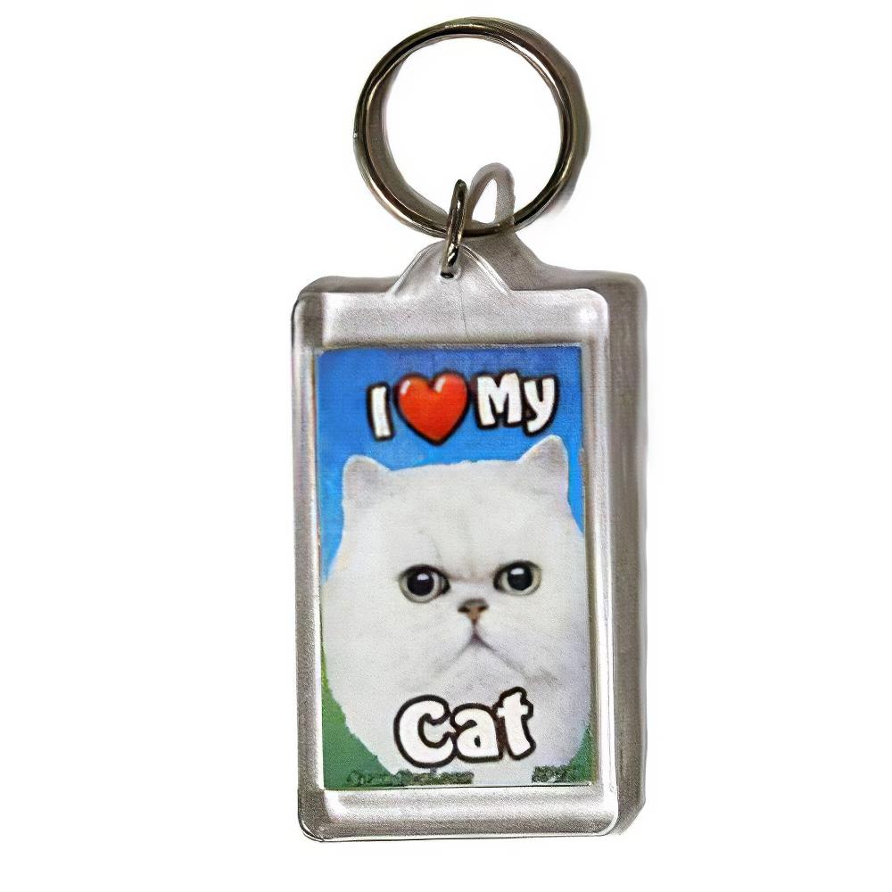 Plastic Keyring Cat Persian White