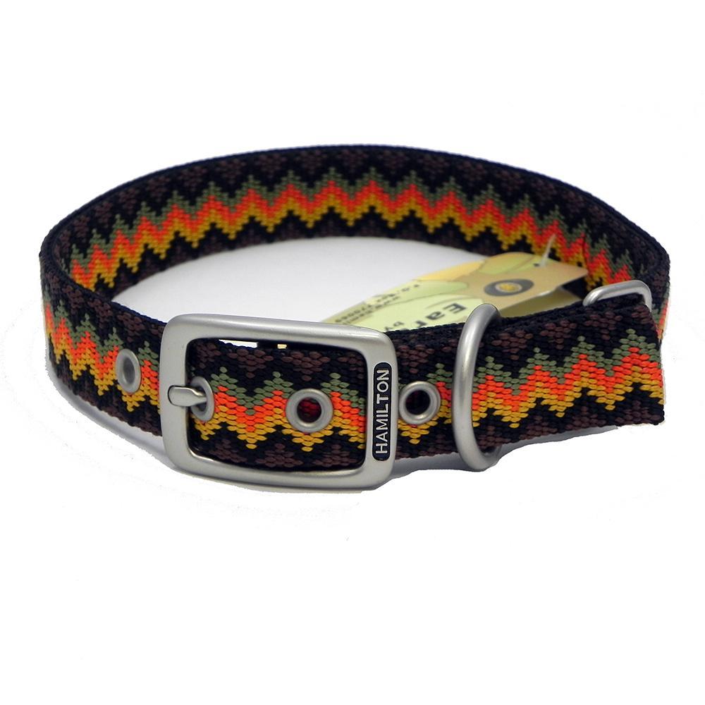 Hamilton Nylon Dog Collar Brown Weave 1 x 24-inch