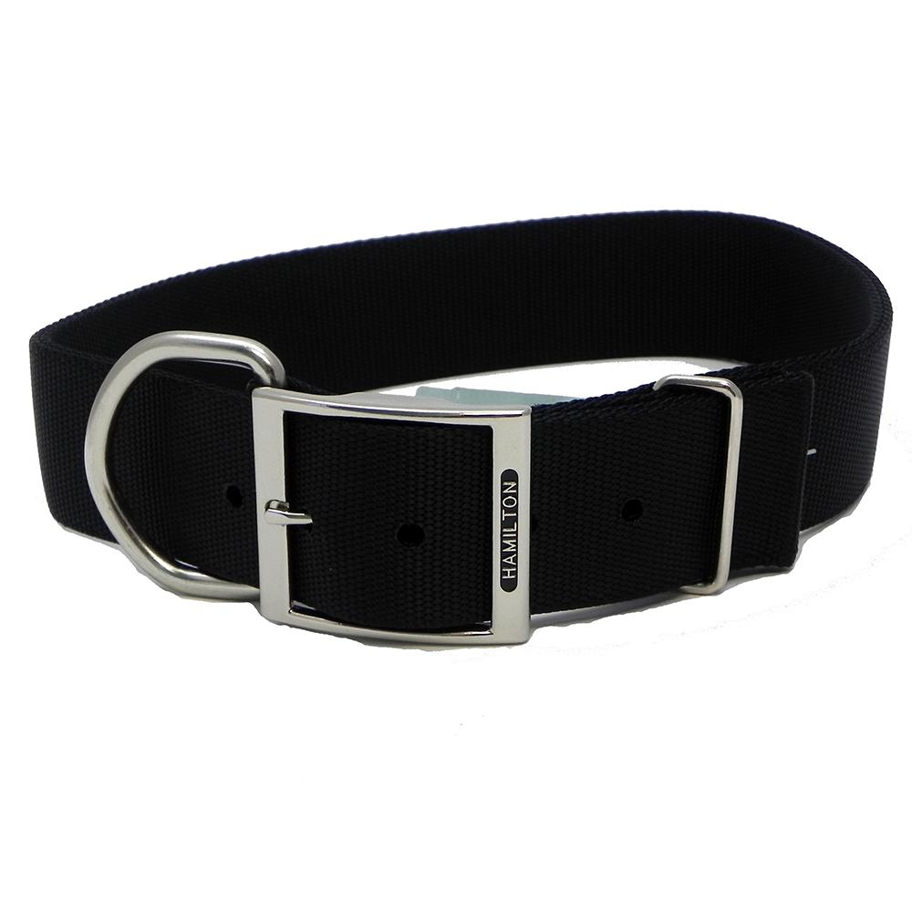 Hamilton Nylon Black Dog Collar 1-3/4  x 24-inch