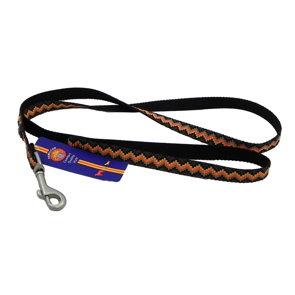 Hamilton Nylon Brown Weave Dog Leash 5/8-inch x 4-ft