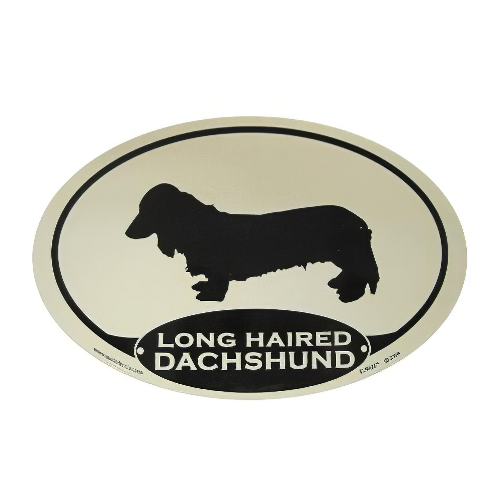 Euro Style Oval Dog Decal Dachshund Long Haired