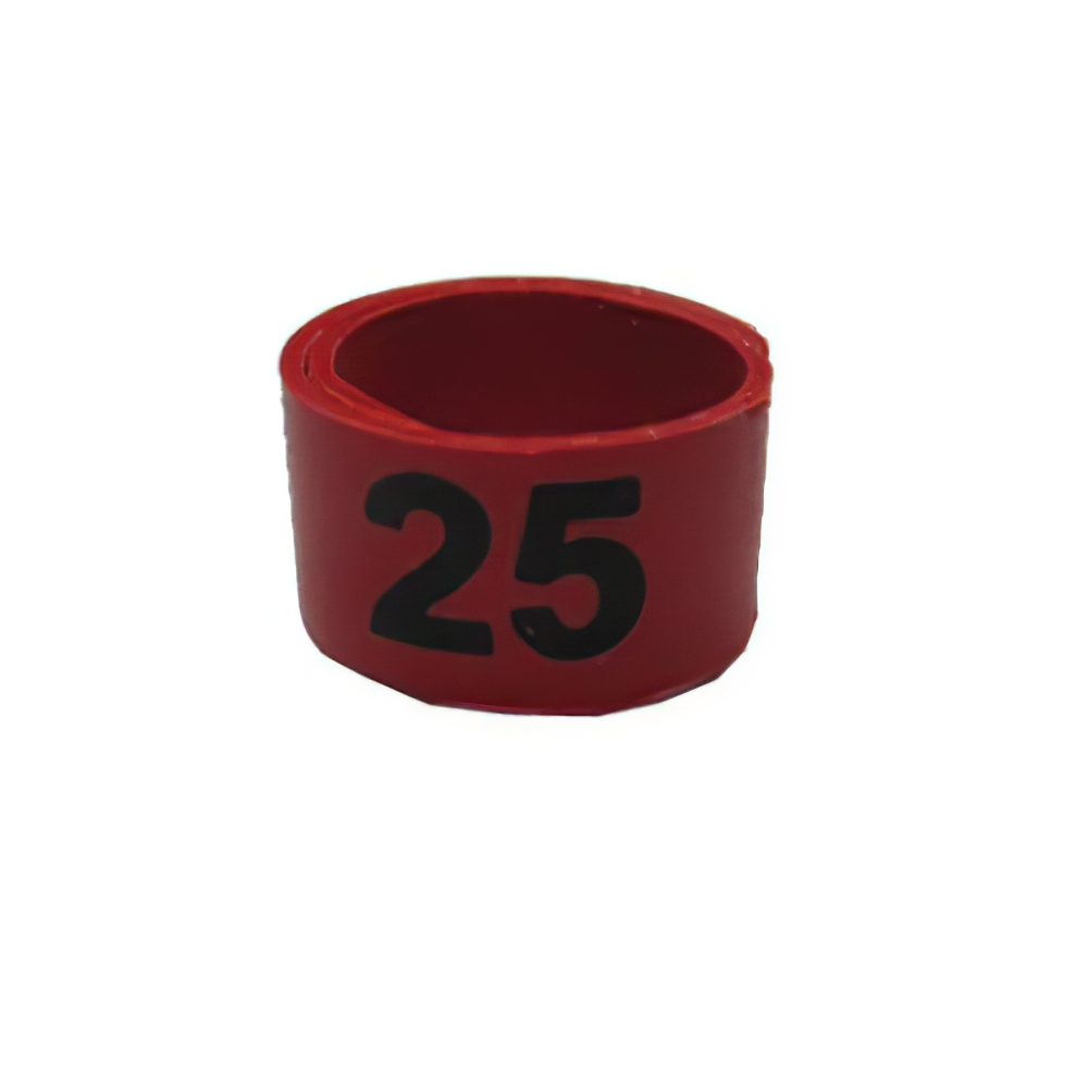 Poultry Numbered Leg Bandette Red Size 9 (single Band)
