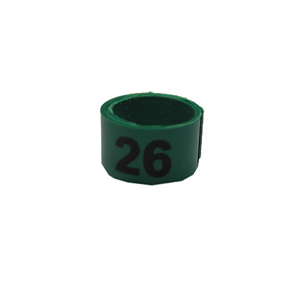 Poultry Numbered Leg Bandette Green Size 9 (single band)