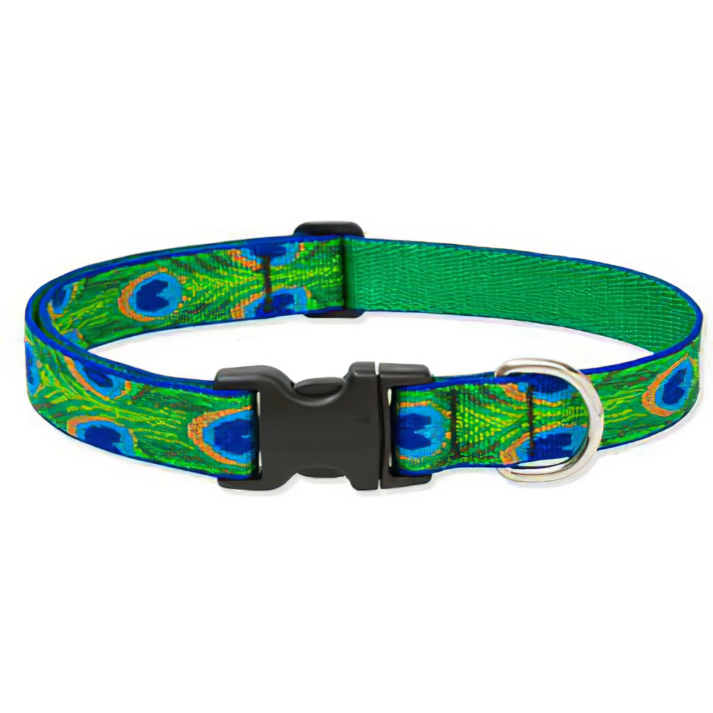 Lupine Nylon Dog Collar Adjustable Tail Feathers 16-28 inch