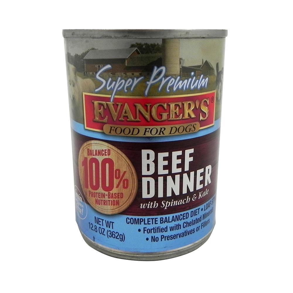 Evanger's Super Premium Beef Dinner Canned Dog Food 13-oz ea