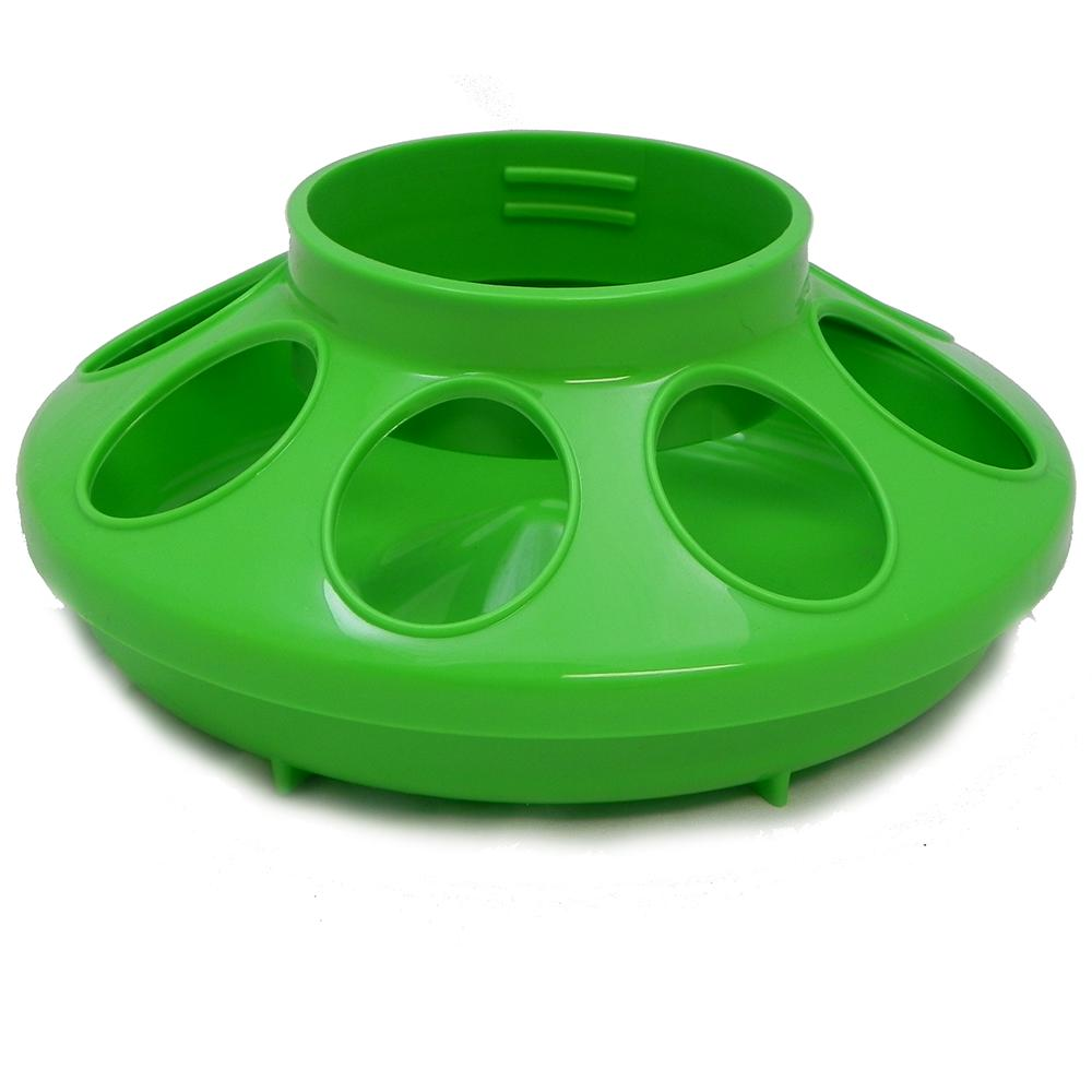 Plastic Mason Jar Baby Chick Feeder Base Green
