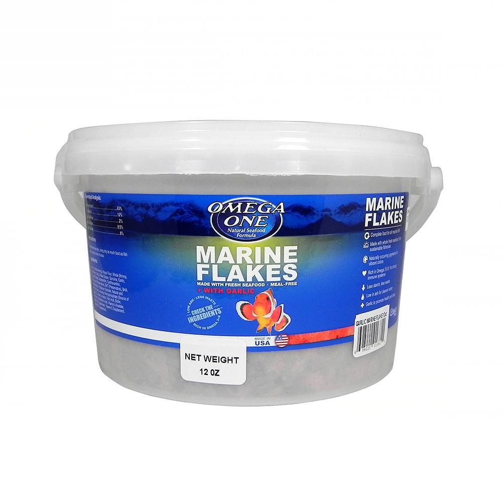 Omega One Garlic Marine Flakes Fish Food 12-oz.