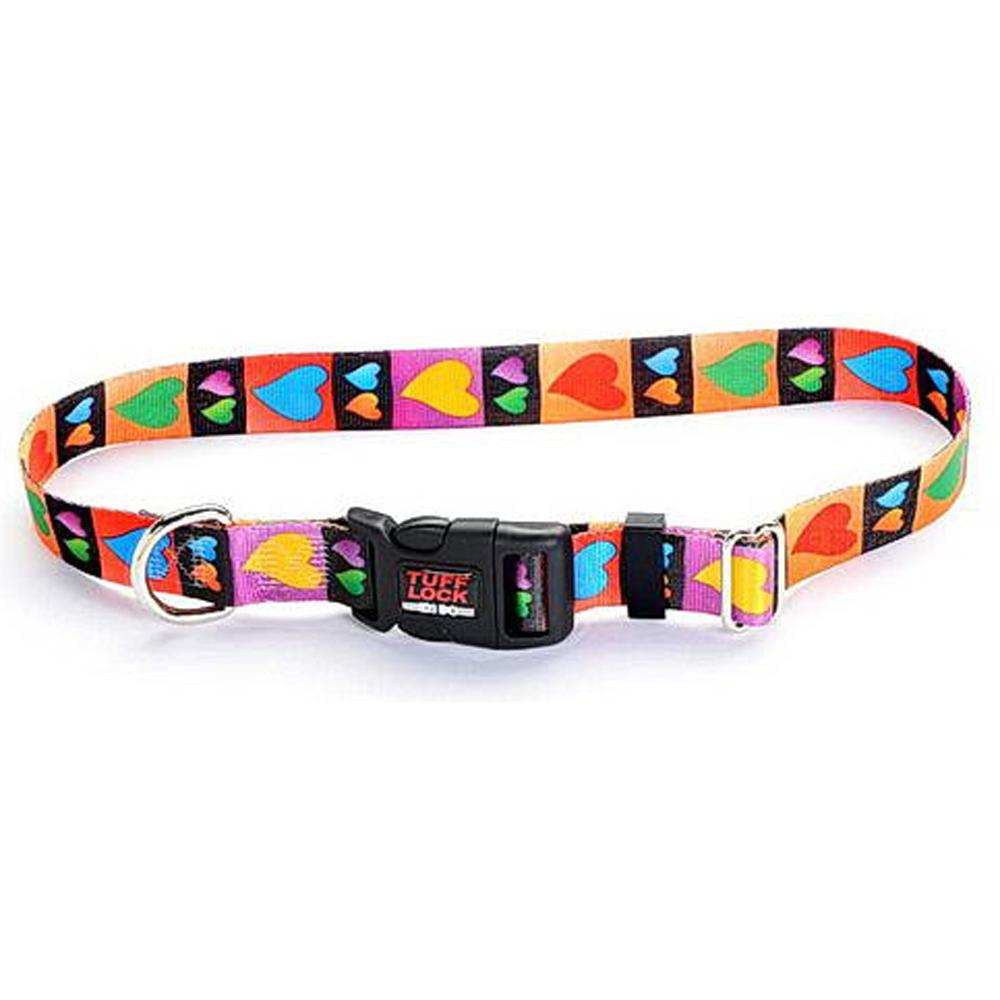Tuff-Lock Large Hearts Adjustable Nylon Dog Collar
