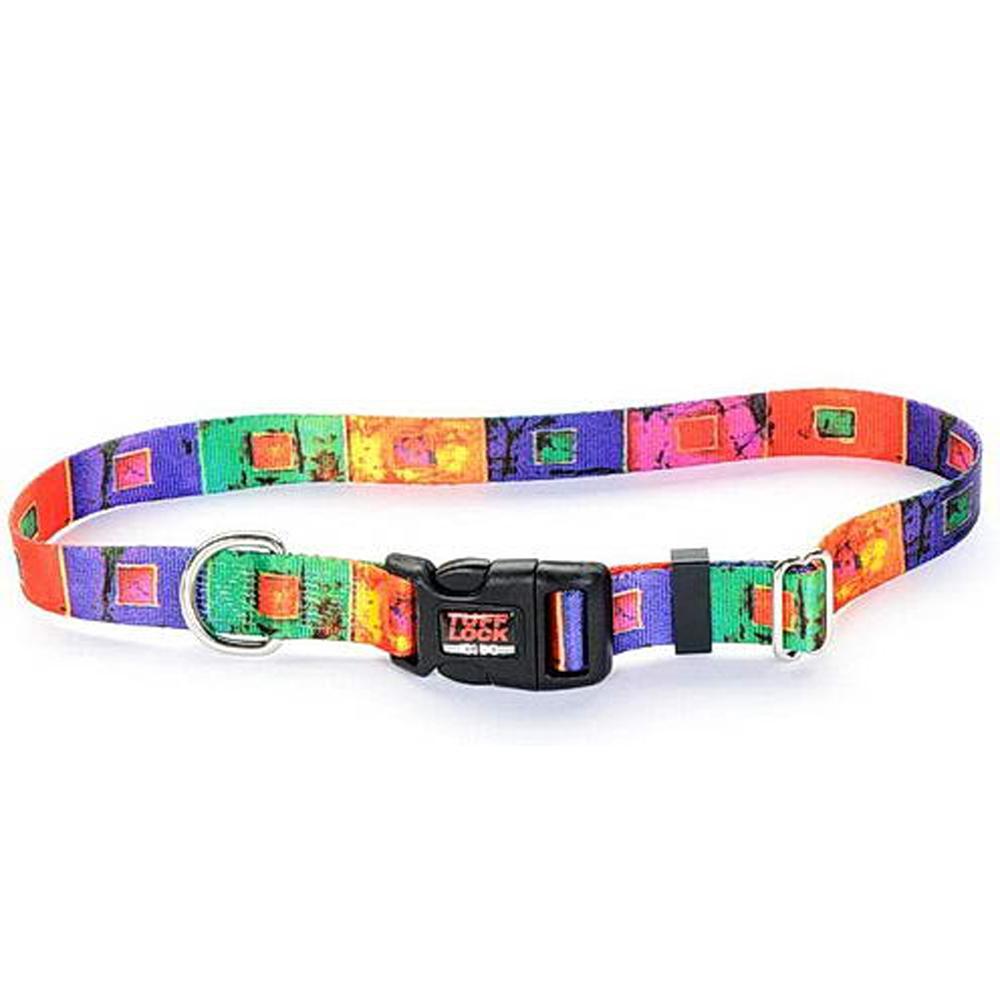 Tuff-Lock Large Stained Glass Adjustable Nylon Dog Collar