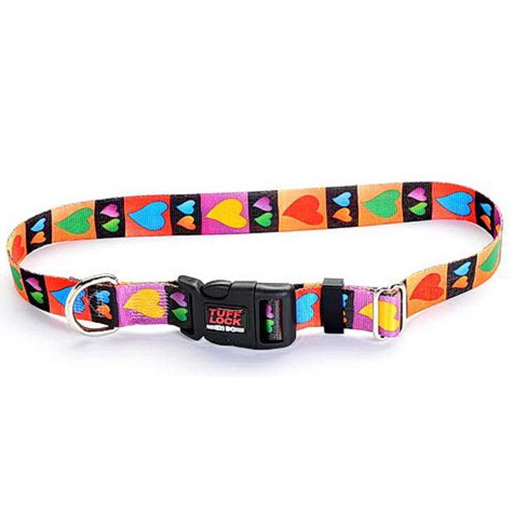 Tuff-Lock Small Hearts Adjustable Nylon Dog Collar